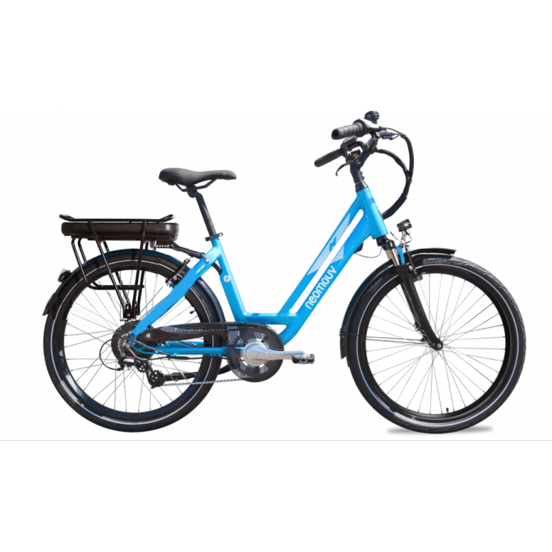 """Neomouv Carlina 26"""" Bleu 2021 - Val de Loire Vélo Tours-Blois Taille 45 Batterie 480 Wh"""