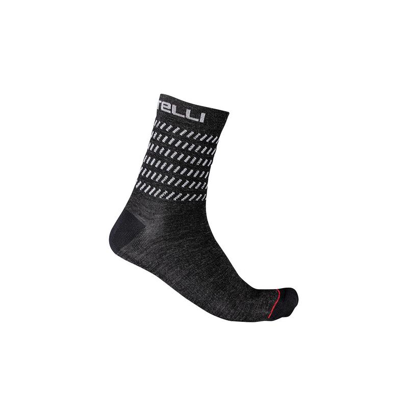 Castelli chaussettes GO 15 gris et blanc Val de Loire vélo Taille S/M